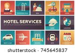 hotel services   set of flat... | Shutterstock .eps vector #745645837