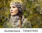 woman and numerology | Shutterstock . vector #745657453