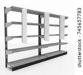 supermarket shelf with shelf...   Shutterstock . vector #745657783