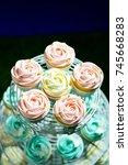 white cupcake   pink cupcake... | Shutterstock . vector #745668283
