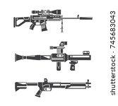 machine gun set   Shutterstock .eps vector #745683043