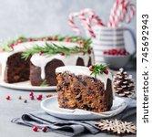 christmas fruit cake  pudding... | Shutterstock . vector #745692943