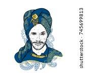 beautiful sultan in a turban...   Shutterstock .eps vector #745699813