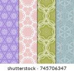 set of modern floral pattern of ... | Shutterstock .eps vector #745706347