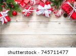 christmas background with... | Shutterstock . vector #745711477