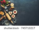 christmas baking sweet food... | Shutterstock . vector #745713217