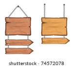 wooden sign on the chains.... | Shutterstock .eps vector #74572078