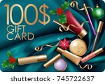 christmas cosmetic makeup gift... | Shutterstock .eps vector #745722637