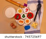 flour  eggs  sugar  butter and... | Shutterstock . vector #745725697