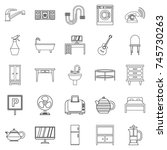lodging house icons set.... | Shutterstock . vector #745730263