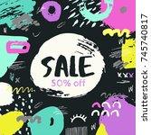 summer sale banner. hand drawn... | Shutterstock .eps vector #745740817