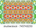 colorful horizontal ornament... | Shutterstock . vector #745743253
