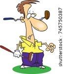cartoon golfer with a damaged... | Shutterstock .eps vector #745750387