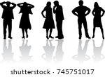 people silhouettes   couples  | Shutterstock .eps vector #745751017