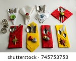 red yellow white paper and... | Shutterstock . vector #745753753