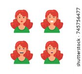 set of woman's emotions. red... | Shutterstock .eps vector #745756477