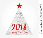 happy new year 2018  christmas... | Shutterstock . vector #745756693