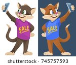 sale. funny cartoon cats in...   Shutterstock .eps vector #745757593