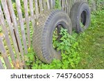 two old tires for the truck... | Shutterstock . vector #745760053