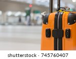 yellow suitcase safety bag in... | Shutterstock . vector #745760407