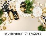 christmas decoration background ... | Shutterstock . vector #745762063