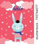 illustration of a rabbit | Shutterstock .eps vector #745766077