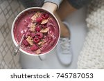 fitness acai smoothie bowl | Shutterstock . vector #745787053