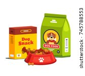 domestic dog food  bag package... | Shutterstock .eps vector #745788553
