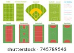 set of various sport field and... | Shutterstock .eps vector #745789543