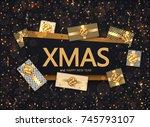 vector modern christmas or 2018 ...   Shutterstock .eps vector #745793107