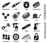 car repair parts icons set.... | Shutterstock . vector #745805443
