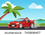 smiling rich business man... | Shutterstock .eps vector #745808407