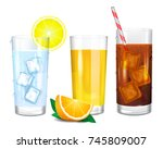 three realistic glasses of... | Shutterstock .eps vector #745809007