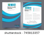 blue flyer template design.... | Shutterstock .eps vector #745813357