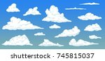 cartoon clouds on day sky in... | Shutterstock .eps vector #745815037