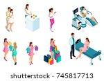 isometry of pregnant girls  one ... | Shutterstock .eps vector #745817713