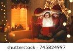 merry christmas  happy family... | Shutterstock . vector #745824997