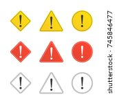 set of caution icons in flat... | Shutterstock .eps vector #745846477