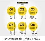 yellow outline infographic set... | Shutterstock .eps vector #745847617