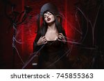 woman sorceress sits on the...