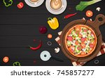 pizza frame view from above... | Shutterstock .eps vector #745857277