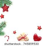 christmas composition.... | Shutterstock . vector #745859533