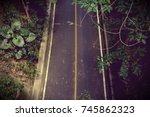 Top View Of Rural Road Empty...
