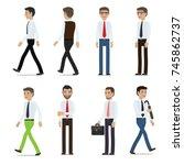 businessmen cartoon characters... | Shutterstock . vector #745862737