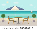 cafe on the terrace near the... | Shutterstock .eps vector #745876213