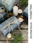 festive gifts with boxes ... | Shutterstock . vector #745887583