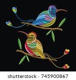 embriodary stitch humming bird... | Shutterstock .eps vector #745900867