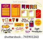 fall sticker set for planner ... | Shutterstock .eps vector #745901263