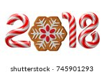 candy cane numbers of 2018 new... | Shutterstock .eps vector #745901293