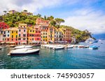 beautiful bay with colorful... | Shutterstock . vector #745903057